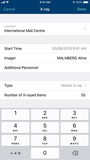 Phone screenshot of x-ray activity