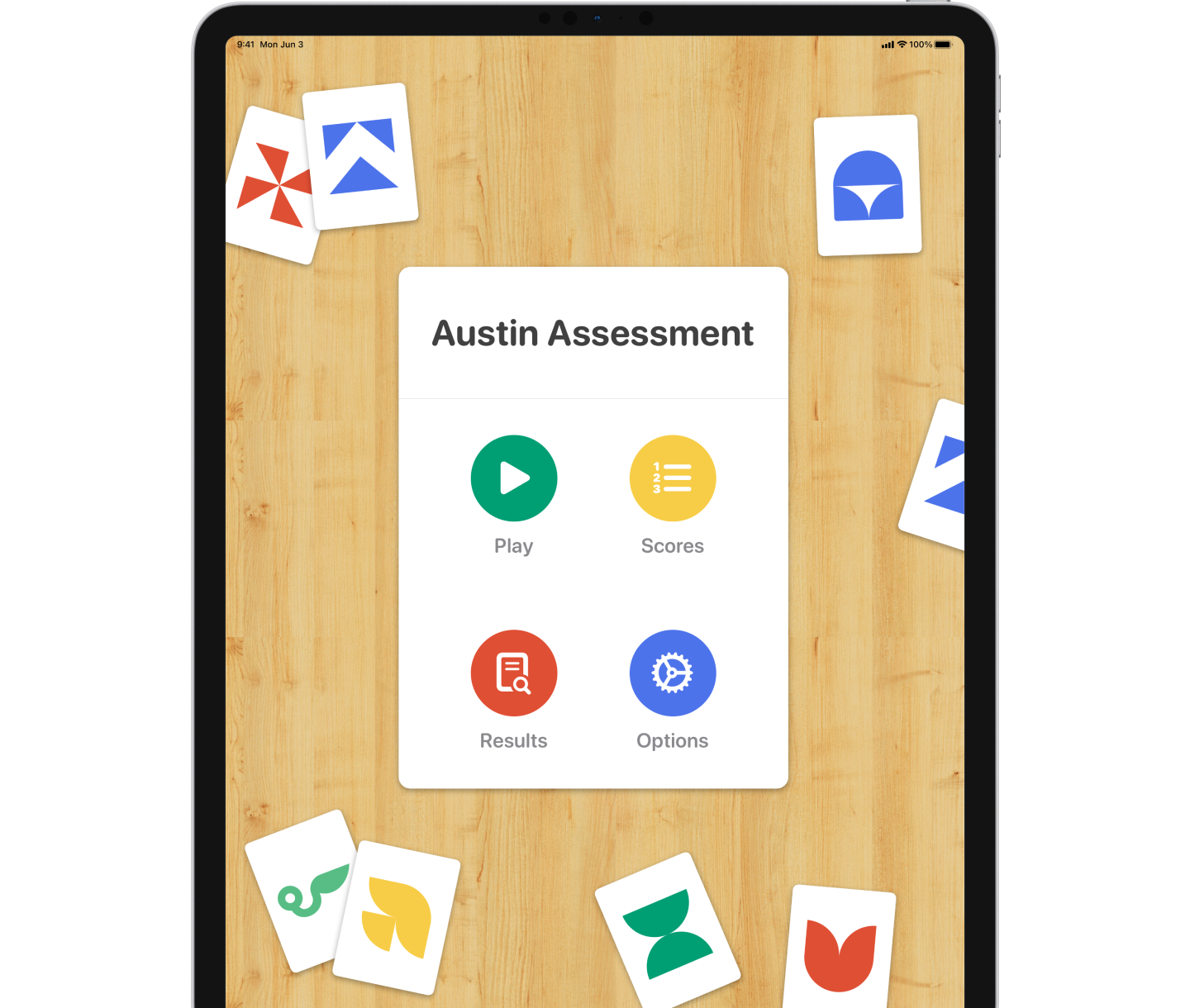 iPad showing the Austin Assessment game menu