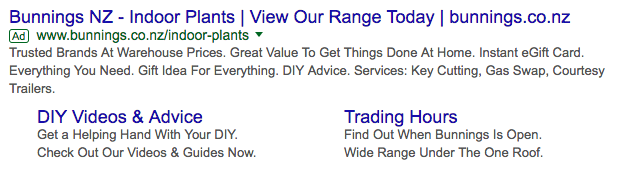 Bunnings Google search ad