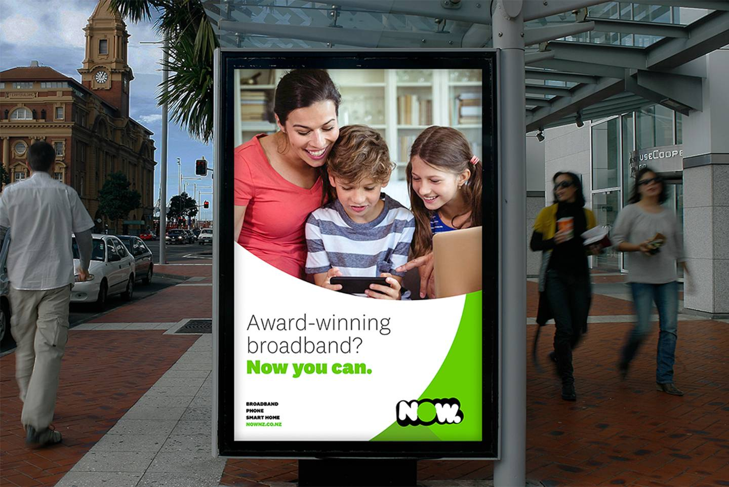 A NOW advert on a bus stop