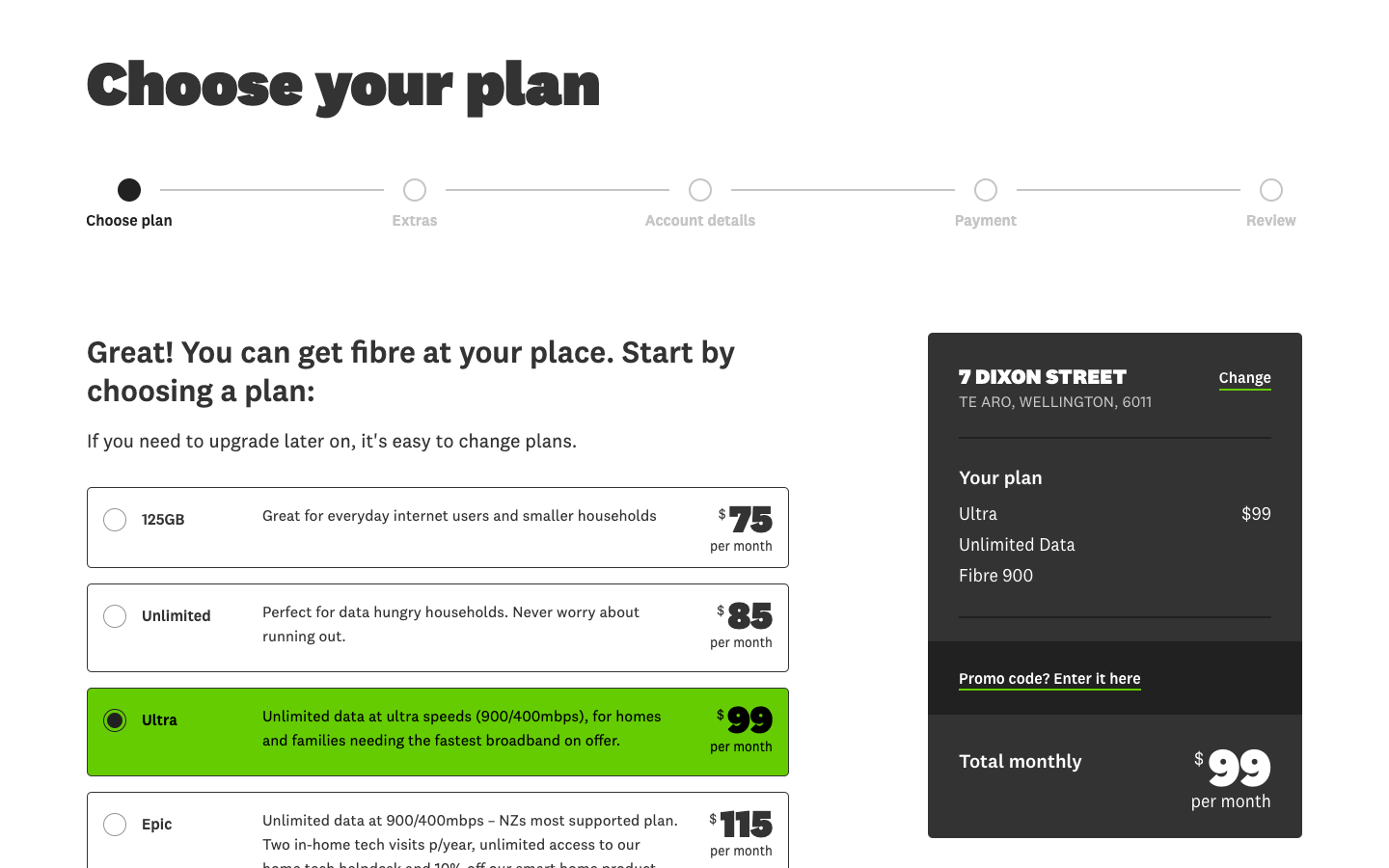 The sign-up process and plan chooser