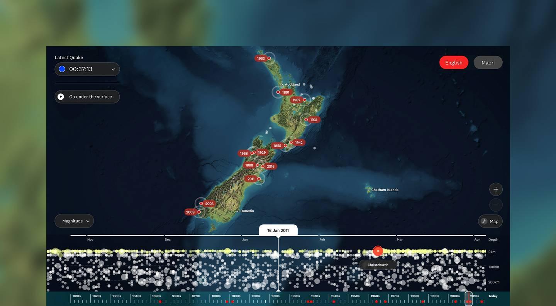 Browsing earthquakes on the Te Papa Quake Nation installation