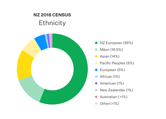 Doughnut chart displaying the ethnicity recorded in NZ census.