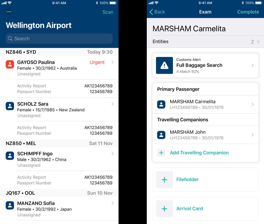 Screenshots of the NZ Customs Frontline Mobility App