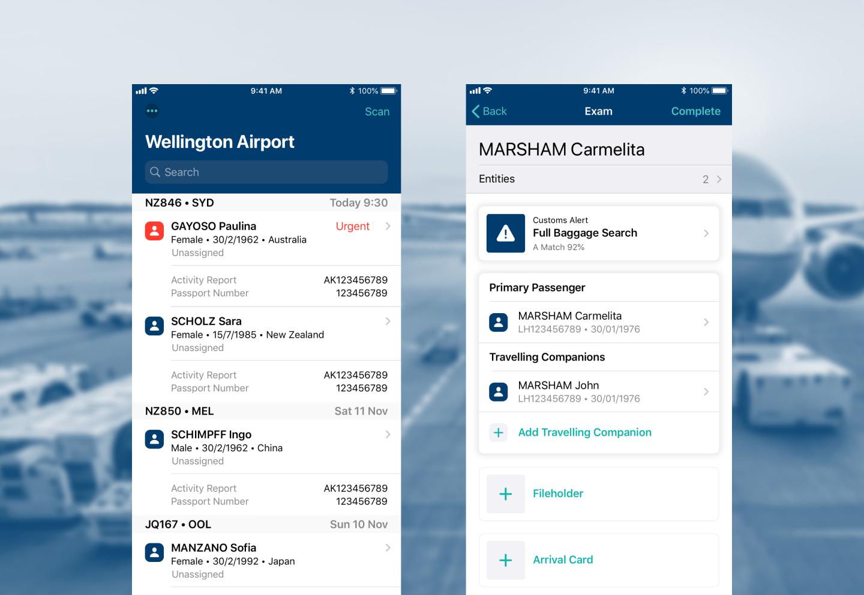 2 screenshots of the NZ Customs app