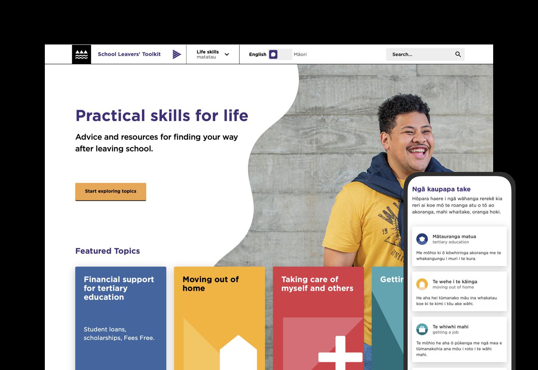 Mobile and desktop screenshots of the School Leavers' Toolkit