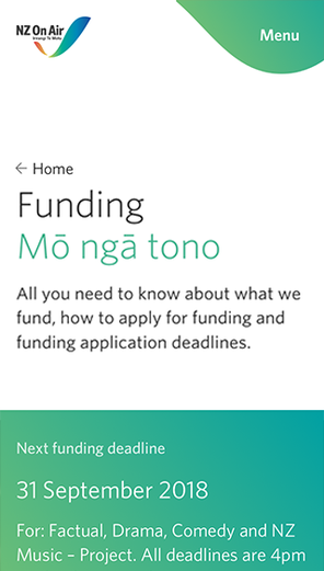 Mobile screenshot of the Funding Page