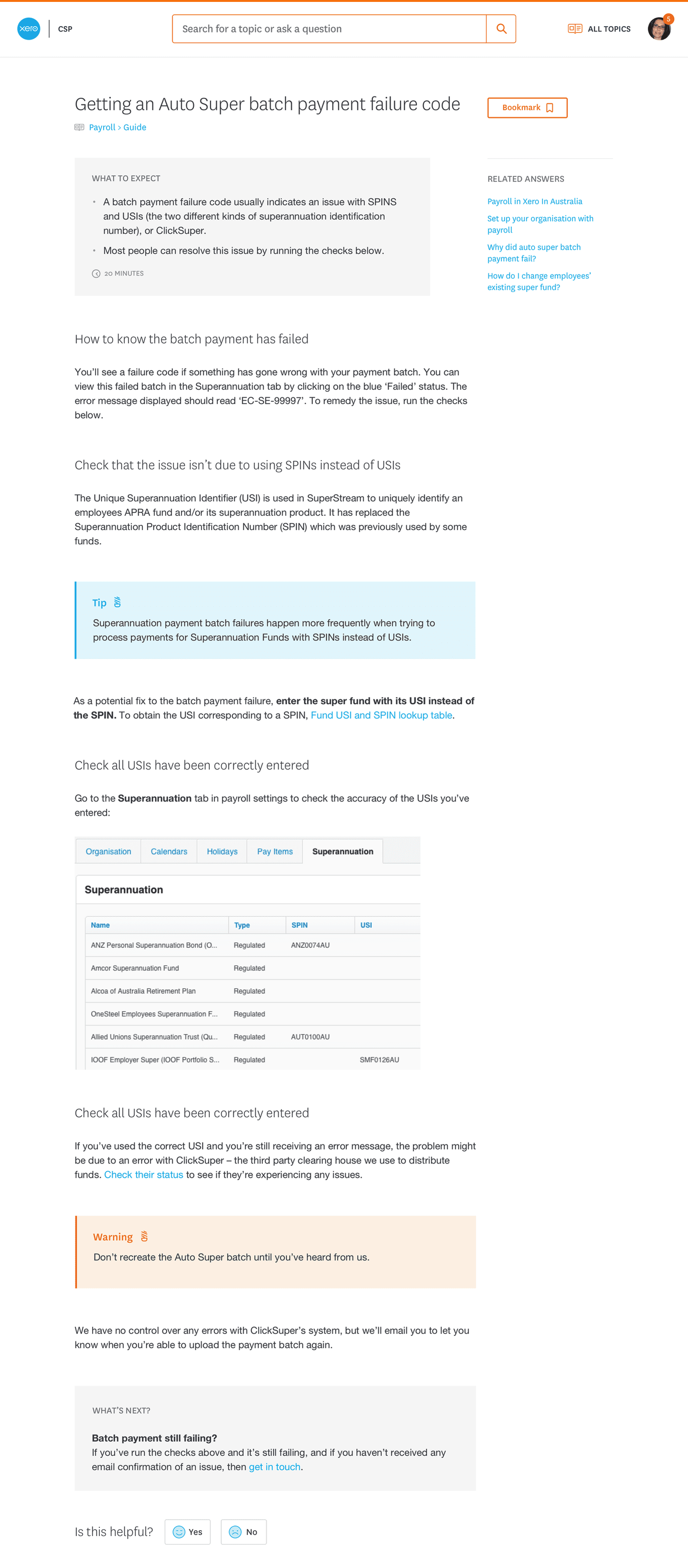 Xero support's discussion page