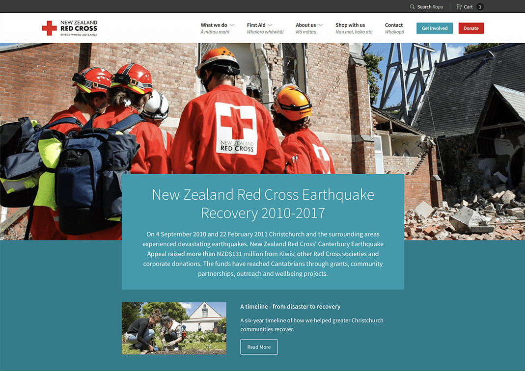 Screenshot of Red Cross homepage