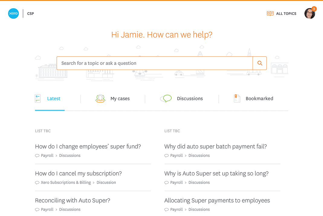 A screenshot of the Xero support page