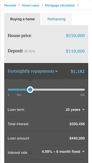 Kiwibank's mortgage calculator
