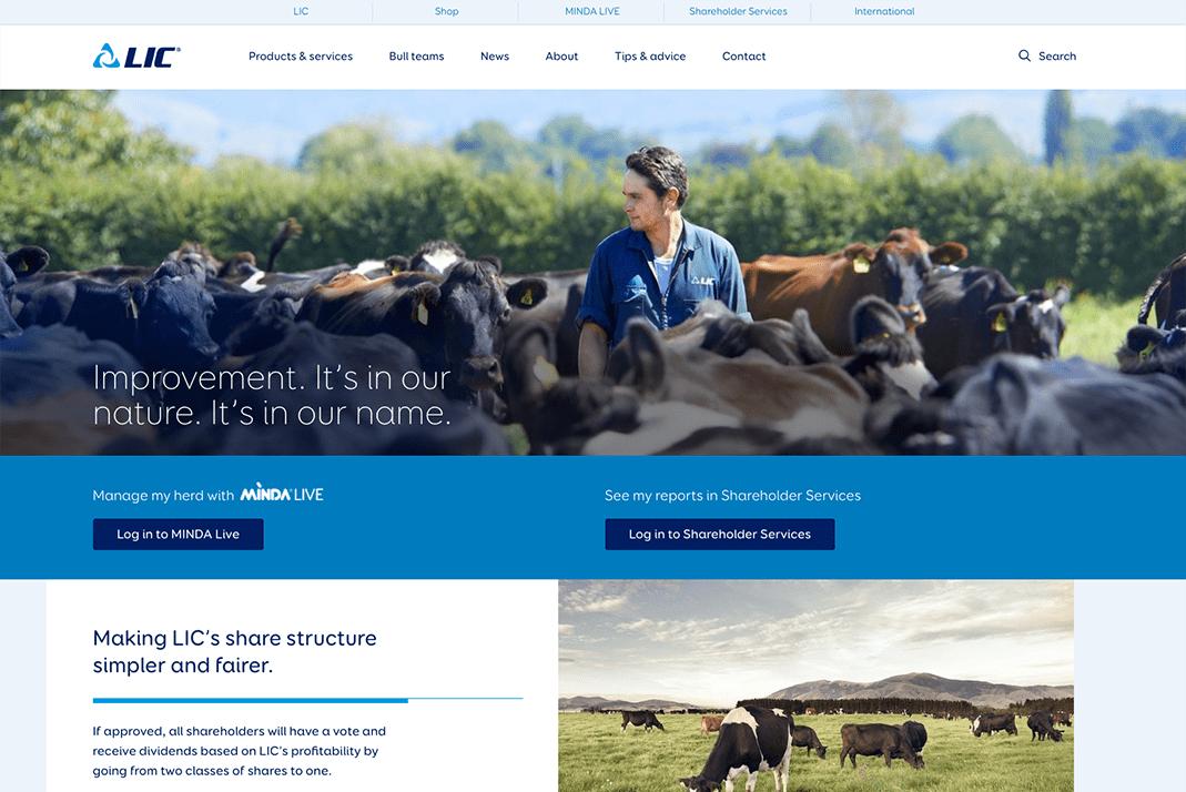Screenshot of the LIC website