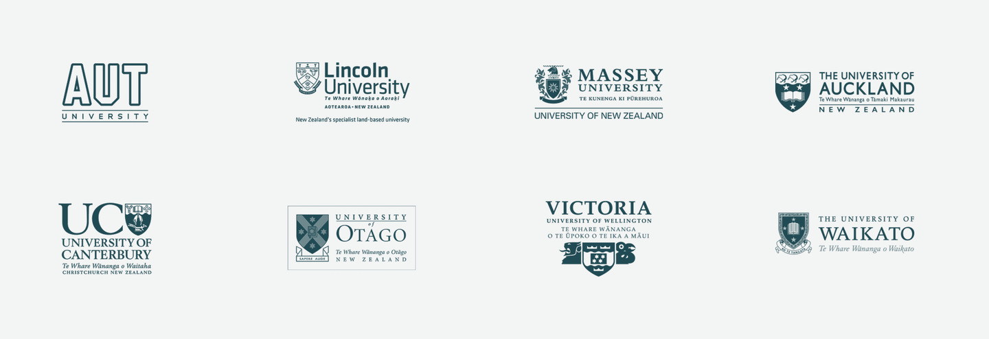 Some examples of logos for NZ organisations which have both Māori and English text in them
