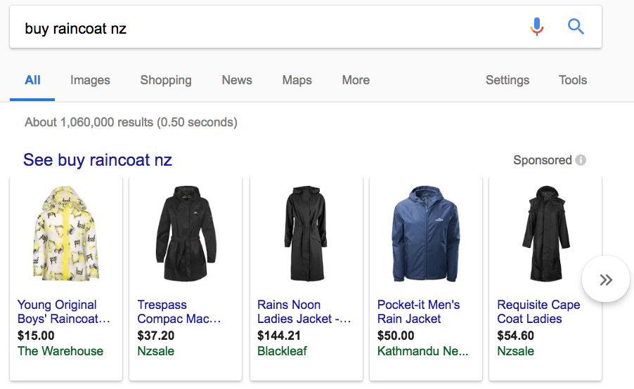 Google highlighting shopping results