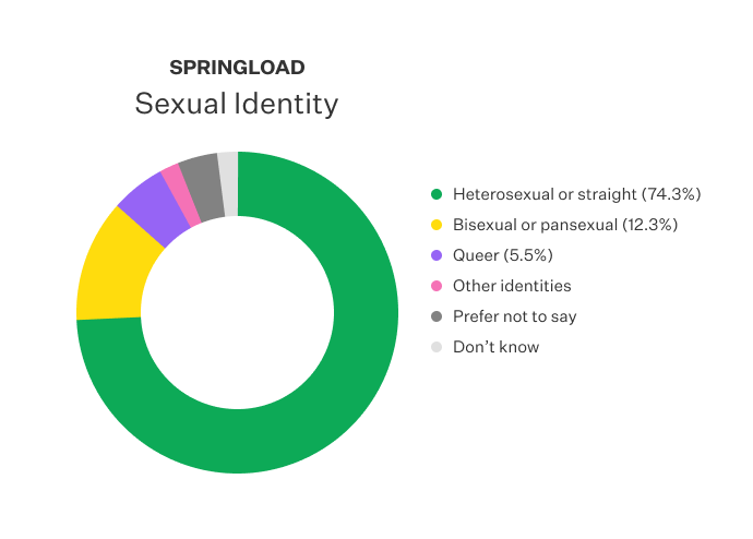 Doughnut chart displayed the sexual identity of Springloaders.