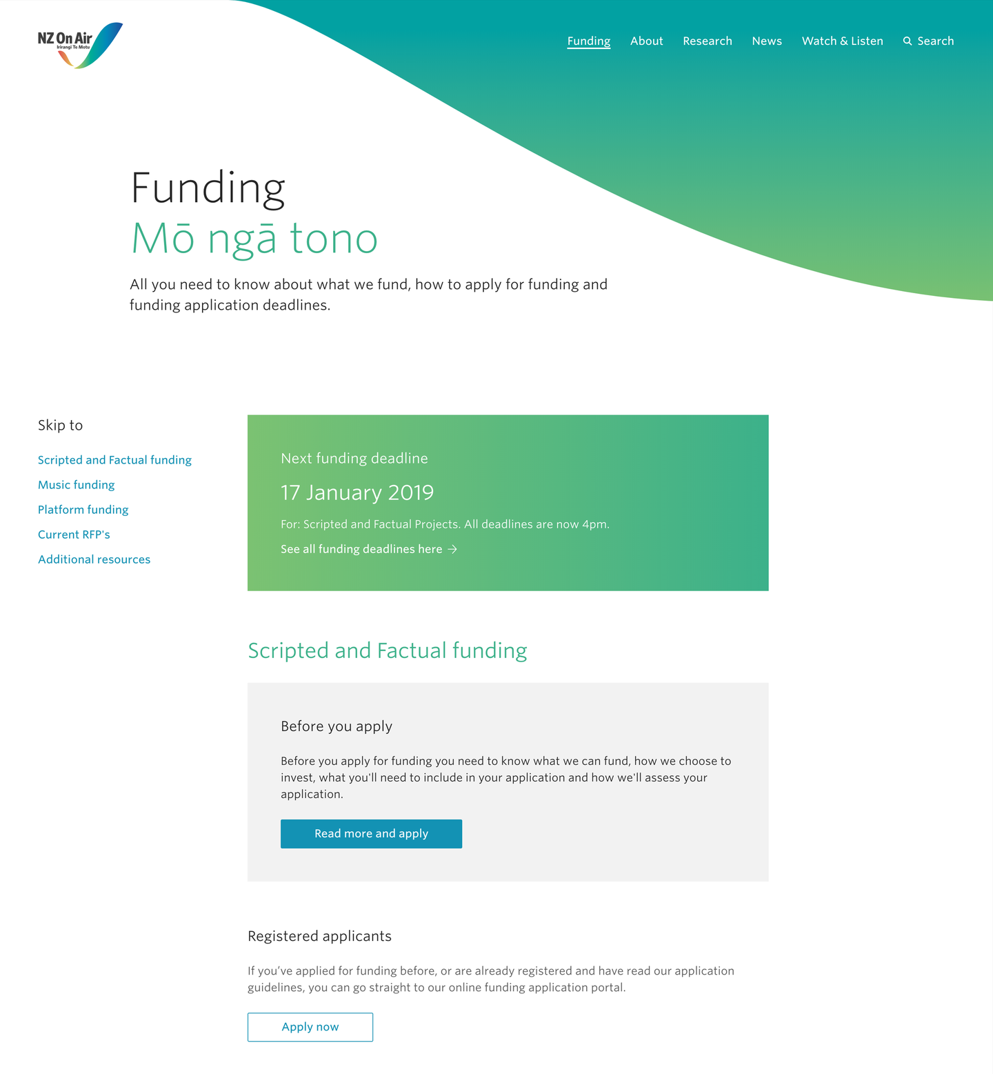 Desktop screenshot of the Funding page