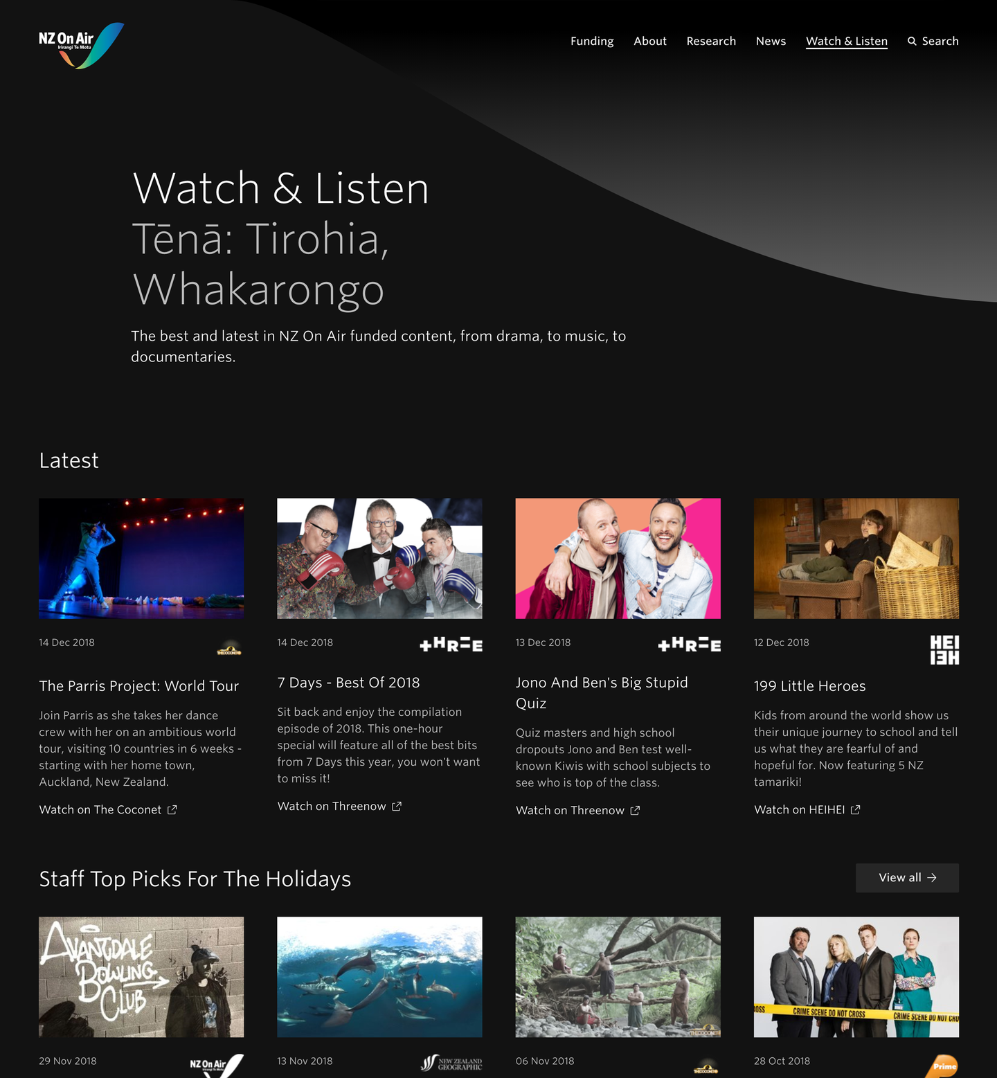 Screenshot of the Watch & Listen page