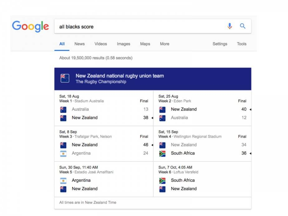 Google highlighting sports scores