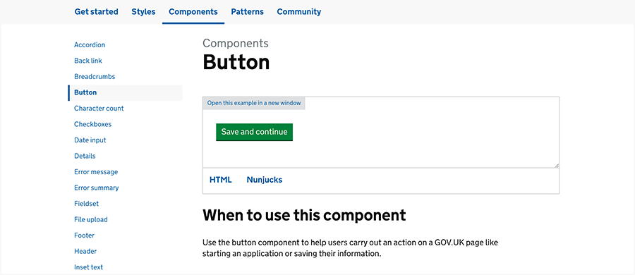 GOV.UK design system components section